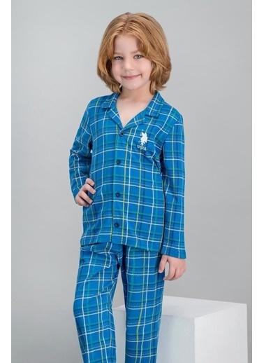 U.S. Polo Assn. U.S. Polo Assn Lisanslı Ekose Kırmızı Erkek Çocuk Gömlek Pijama Mavi